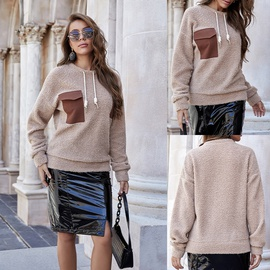 Fashion Long-sleeved Autumn And Winter Loose Lamb Wool Round Neck All-match Blouse NSLM29022