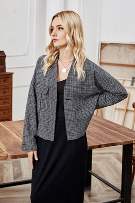 Plaid Collarless Cardigan Short Coat  NSLM29027