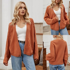 V-neck Solid Color Knitted Cardigan  NSLM29028