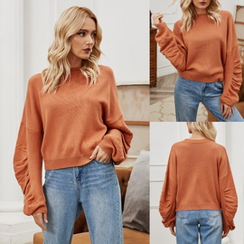 Round Neck Solid Color Sweater  NSLM29030