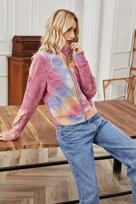 Turtleneck Color Zipper Tie-Dye Jacket NSLM29032