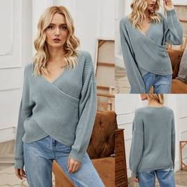 Irregular Cross Knitted Top NSLM29046