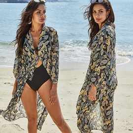 Chiffon Printed V-neck Mid-length Beach Cardigan  NSLM29113