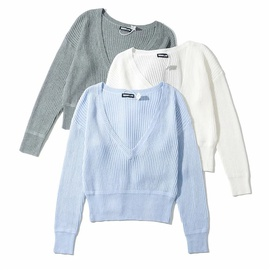 Temperament Sexy Long-sleeved V-neck Sweater Top NSLD29222