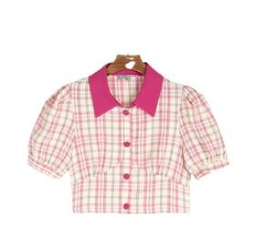 Pink Plaid Chiffon Summer New Slim Small Top NSLD29231