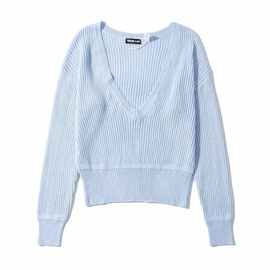 Sexy Low-V-neck Slimming Long-sleeved Knitted Top NSHS29331
