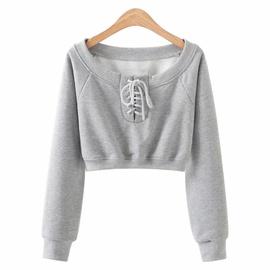 Spring New Style Drawstring One-shoulder Sweatshirt NSHS29385