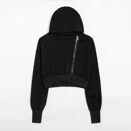 Oblique Zipper Design Hooded Sweatshirt NSHS29388