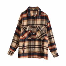 Pockets Plaid Sanded Shirt Coat  NSHS29410
