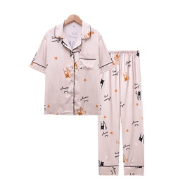 Summer Silk Cartoon Printed Cardigan Casual Home Service NSJO29534