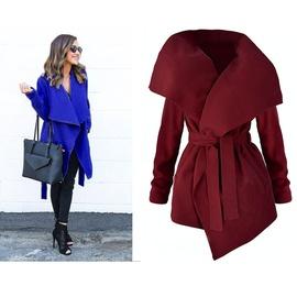 Fall/winter Long-sleeved Lapel Belt Irregular Woolen Coat  NSME29547