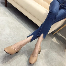 Spring And Autumn Soft Leather Thick-heeled Mid-heel Shoes NSHU29712