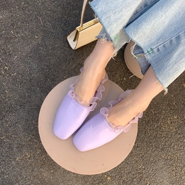 Soft Leather Simple Half Slippers  NSHU29743