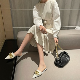 Spring And Summer Pointed Flat Lazy Chain Mules NSHU29746