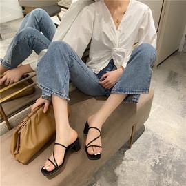 Simple Thin Strap Mid-heel Sandals  NSHU29767