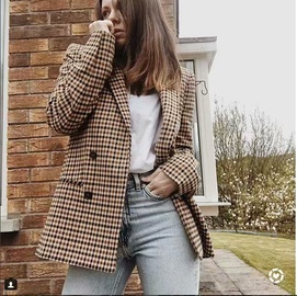 Retro Plaid Breasted Small Suit Jacket  NSAM29918