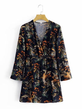 Spring And Summer New V-neck Long-sleeved Oriental Print Short Design Dress  NSAM29935