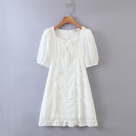 Puff Sleeve Square Neck Lace Small Dress  NSAM29946