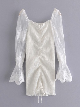 New Style Sleeves Embroidery Mesh Drawstring Square Neck Flared Sleeve Dress  NSAM29951