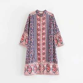 Loose Color Matching Printing Flared Sleeve Dress  NSAM29954