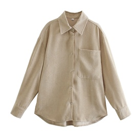Spring Two-color Corduroy Blouse  NSAM29957
