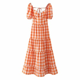 Plaid Puff Sleeve Open Back Carrot Dress  NSAM29974