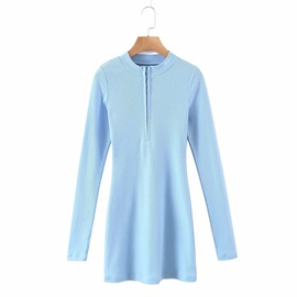Spring New Knitted Zipper Long-sleeved Dress NSAC30018