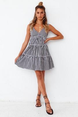 Summer New Style Deep V Sexy Backless Sleeveless Plaid Printed Dress  NSYD30048