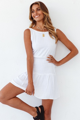 Summer New Style Round Neck Sleeveless Backless Pure Color Washed Cotton Dress  NSYD30053