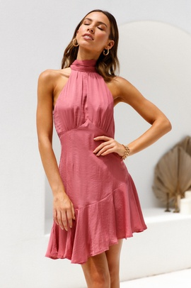 Summer New Style Sleeveless Hanging Neck Sexy Halter High Waist Ruffle Dress  NSYD30055