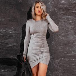 Spring Elastic Slim Round Neck Knitted Dress NSKL30068