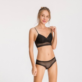 Non-wired Gather Open Back Striped Bra Set NSCL30155