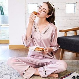 Comfortable Long Sleeve Trouser Pajamas Two-piece NSJO30240
