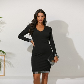 Autumn And Winter New Style Solid Color Tight-fitting Sequins Deep V Dress NSME30328