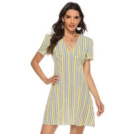 Summer New Lemon Yellow Striped Sexy V-neck Short Sleeve Dress  NSJR30281