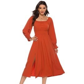 Spring And Autumn New Fashion Square Collar Slimming Waist Split Long-sleeved Dress  NSJR30258