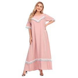 Summer New Loose Tassel Short-sleeved Plus Size Dress NSJR30251