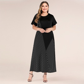 Spring And Summer New Plus Size Fashion Stitching Striped Loose Dress  NSJR30249