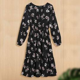 New Autumn Elastic Waist Slimming Printing Large Size Long Sleeve Dress  NSJR30261