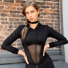 Long-sleeved Mesh Splicing Hooded Sweatershirt NSMX30359