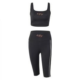 Embroidered Vest High Waist Shorts Yoga Set NSMX30378