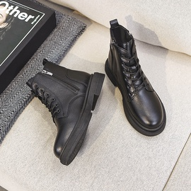 Autumn And Winter Round Toe Leather Ankle Boots  NSNL30414