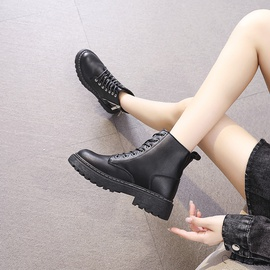 Autumn And Winter Lace-up Flat-bottom Short Boots  NSNL30457