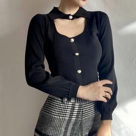 Slim Thin Hollow Cardigan Sweater Lantern Sleeve Top  NSAM30512