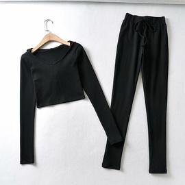 Stretch Leggings Cropped Short Hoodie Sweater Pants Set NSAM30520