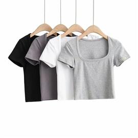 Elastic Casual Simple Solid Color Short T-shirt NSLD30535