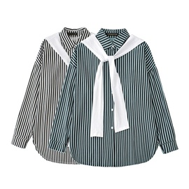 Contrast Color Striped Two-piece Shirt  NSLD30543
