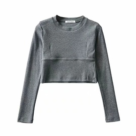 Personality Stitching Round Neck Pullover Knit Sweater Top  NSLD30545