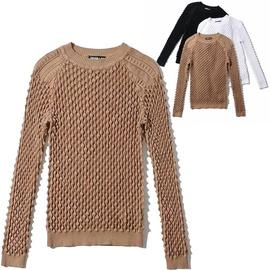 Fashion Three-dimensional Jacquard Round Neck Sweater Top  NSLD30552