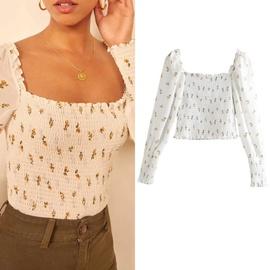 Floral Long-sleeved Chiffon Shirt  NSLD30559